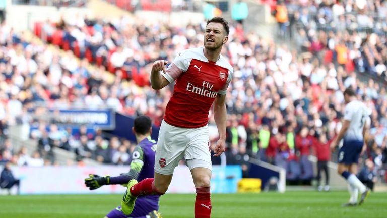 Aaron Ramsey celebrates putting Arsenal 1-0 up