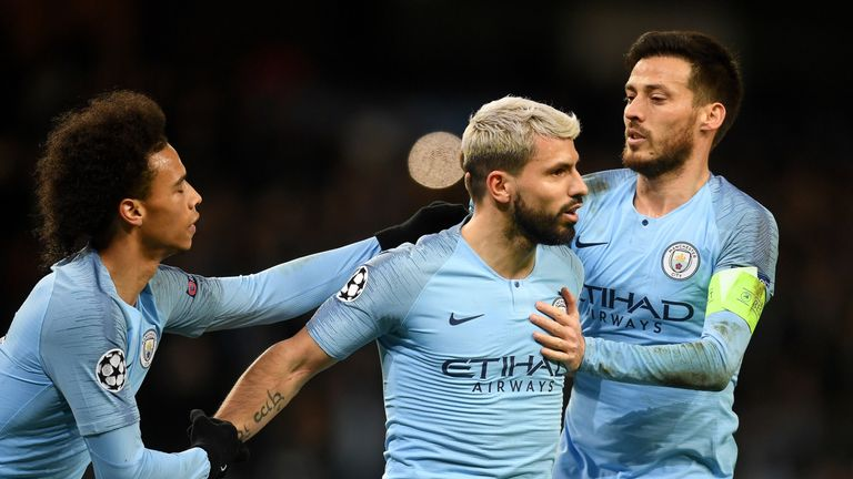 Manchester City celebrate a goal against Schalke in the Champions League