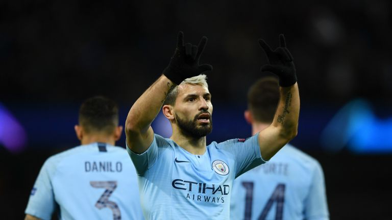 Sergio Aguero scored twice in the first half to set Manchester City on their way