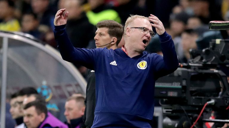 Scotland's Alex McLeish gestures on the touchline during the UEFA Euro 2020 Qualifying, Group I match at the Astana Arena. PRESS ASSOCIATION Photo. Picture date: Thursday March 21, 2019. See PA story SOCCER Kazakhstan. Photo credit should read: Adam Davy/PA Wire. RESTRICTIONS: Use subject to restrictions. Editorial use only. Commercial use only with prior written consent of the Scottish FA.