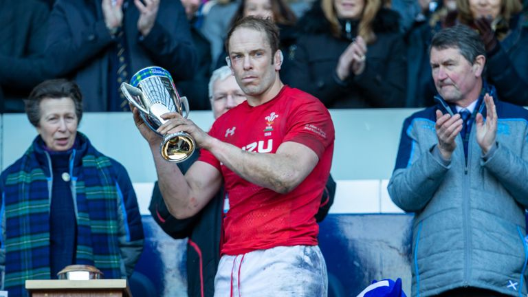 Wales captain Alun Wyn Jones receives the Doddie Weir trophy from Princess Anne