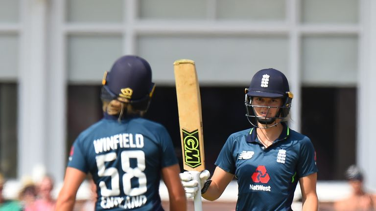 Amy Jones of England Women bats against  New Zealand Women bats during the 3rd ODI: ICC Women's Championship between England Women and New Zealand Women at Grace Road on July 13, 2018 in Leicester, England.