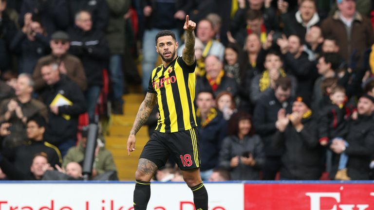 Andre Gray celebrates after scoring Watford's second goal vs Crystal Palace in the FA Cup
