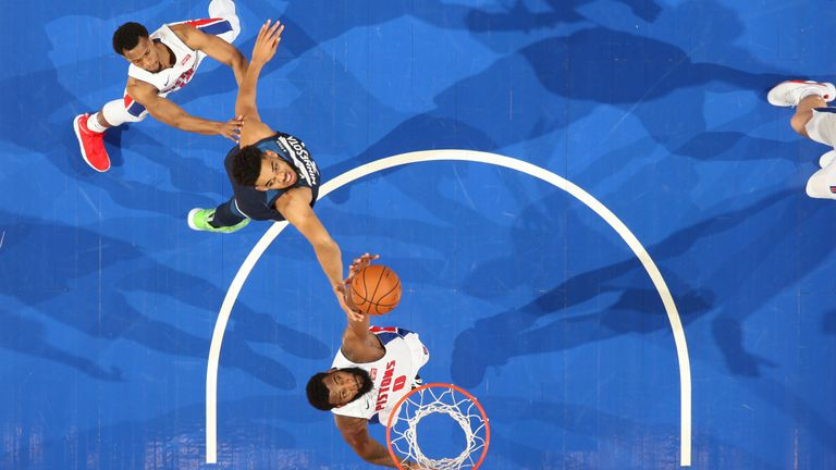 Andre Drummond of the Detroit Pistons shoots the ball against the Minnesota Timberwolves