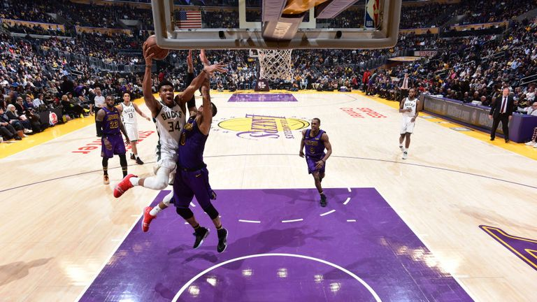 Giannis Antetokounmpo of the Milwaukee Bucks shoots the ball against the Los Angeles Lakers