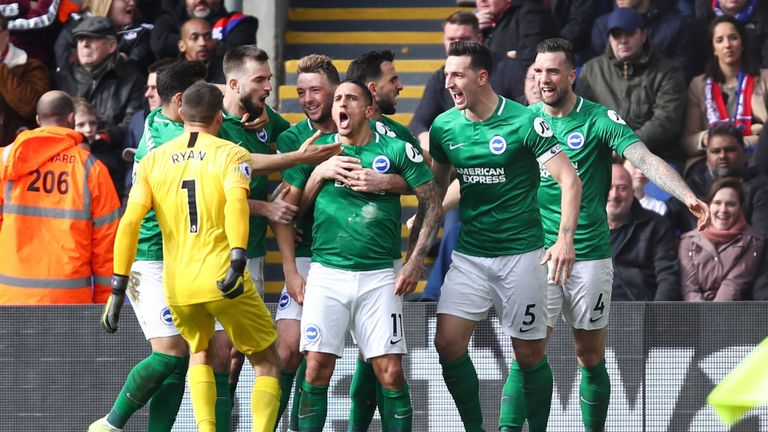 Anthony Knockaert celebrates after his 20-yard curler restores Brighton's lead