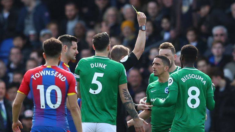Knockaert picked up a yellow for a challenge on Luka Milivojevic in the opening moments of Palace's game with Brighton in March