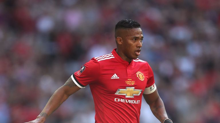 Antonio Valencia in action for Manchester United in the FA Cup final 2018