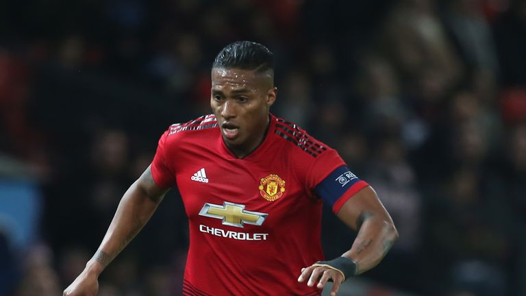 Antonio Valencia in action for Manchester United in the Champions League