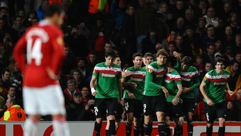 Athletic Bilbao players celebrate their goal against Manchester United at Old Trafford in 2012