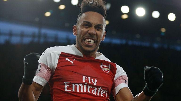 Pierre-Emerick Aubameyang celebrates scoring Arsenal's second goal against Manchester United in the Premier League.