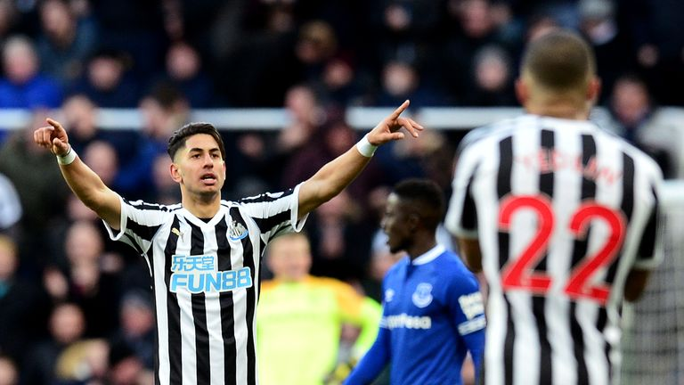Ayoze Perez celebrates after scoring Newcastle's second goal of the game