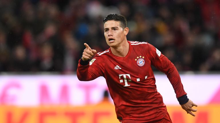 James Rodriguez celebrates scoring for Bayern Munich against Mainz
