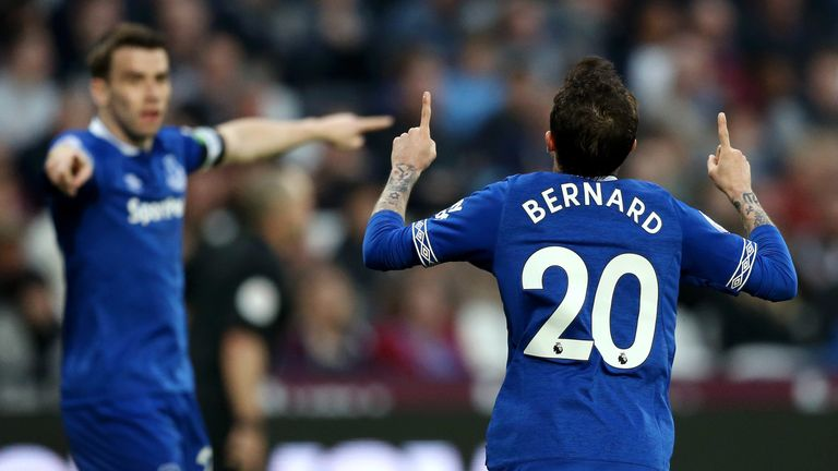 Bernard scored the second goal for the Toffees