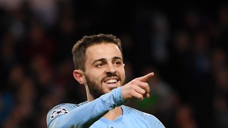 Silva celebrates scoring Manchester City's fifth against Schalke.