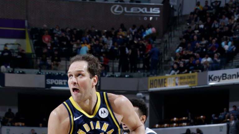 Bojan Bogdanovic #44 of the Indiana Pacers drives to the basket against the Denver Nuggets on March 24, 2019 at Bankers Life Fieldhouse in Indianapolis, Indiana.