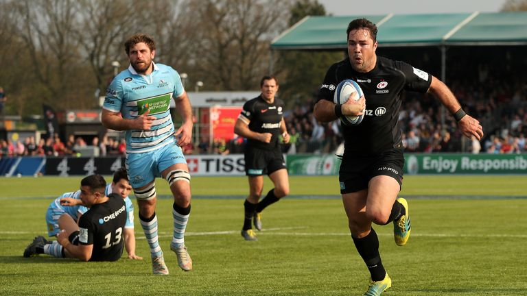 Saracens skipper Brad Barritt on his way to the tryline against Glasgow Warriors
