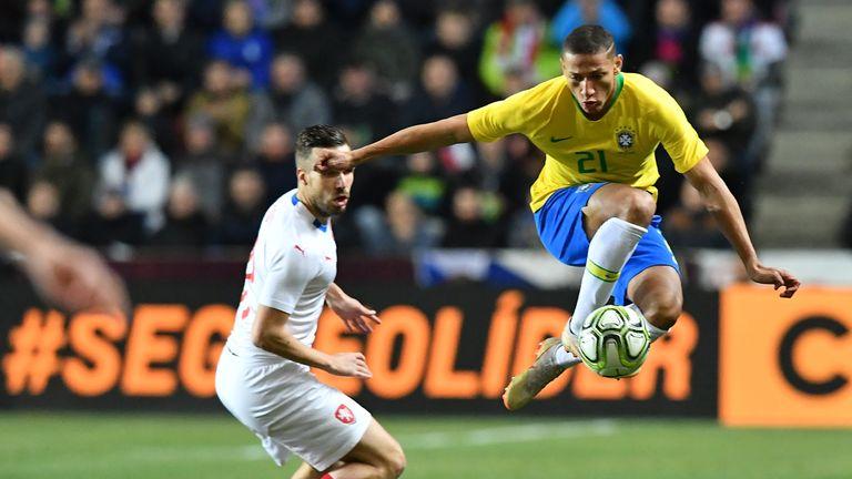 Brazil's Richarlison stops a ball during the friendly against Czech Republic