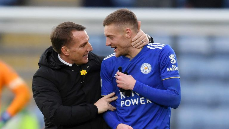 Brendan Rodgers will be hoping Jamie Vardy can fire the Foxes to victory over bogey side Bournemouth this weekend