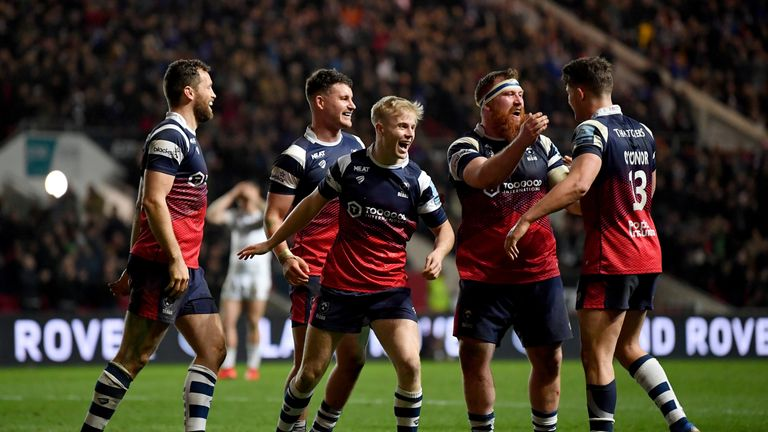 Bristol celebrate their first win over Gloucester since 2008