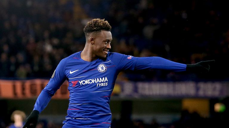 Chelsea's Callum Hudson-Odoi celebrates scoring his side's third goal of the game against Dynamo Kiev