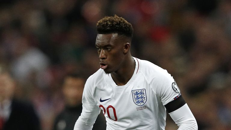 Callum Hudson-Odoi in action on his senior England debut