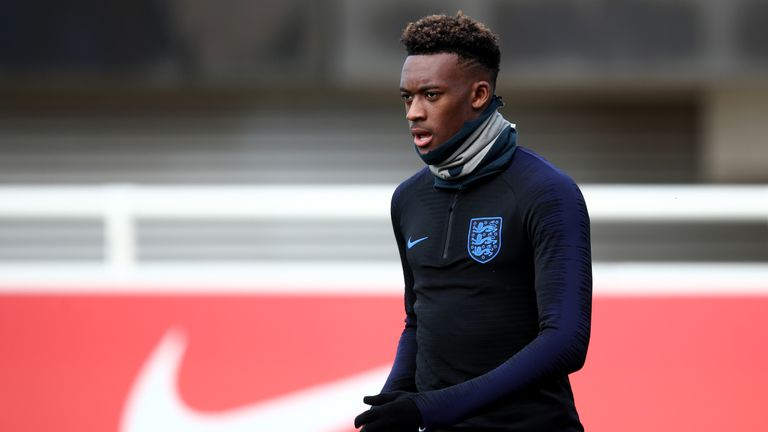 England forward Callum Hudson-Odoi trains ahead of European Qualifier against Montenegro