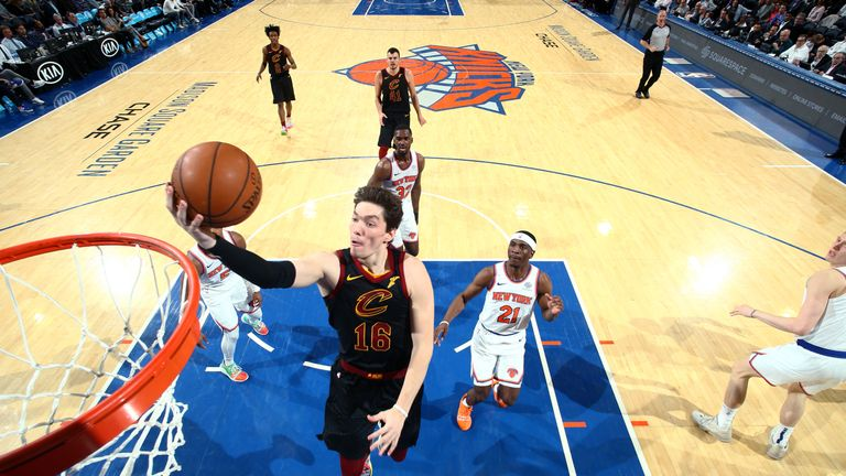 Cedi Osman #16 of the Cleveland Cavaliers goes to the basket against the New York Knicks on February 28, 2019 at Madison Square Garden in New York City, New York.