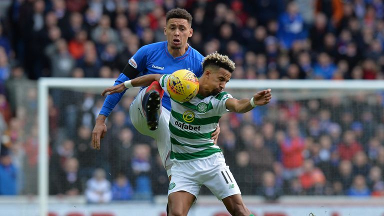 Scott Sinclair battles for the ball in the Old Firm against Rangers