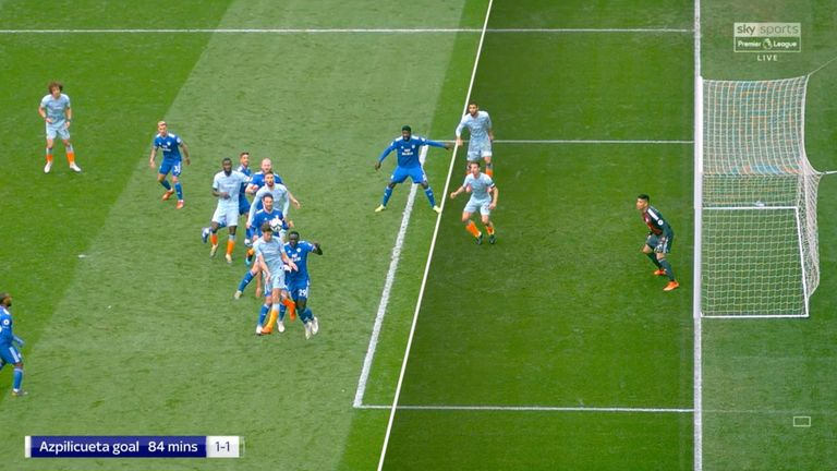 Cesar Azpilicueta met Marcos Alonso's flick-on in an offside position