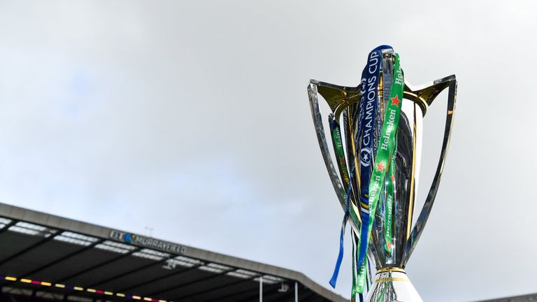 30 March 2019; A general view of the Champiosn Cup trophy prior to the Heineken Champions Cup Quarter-Final match between Edinburgh and Munster at BT Murrayfield Stadium in Edinburgh, Scotland. Photo by Brendan Moran/Sportsfile