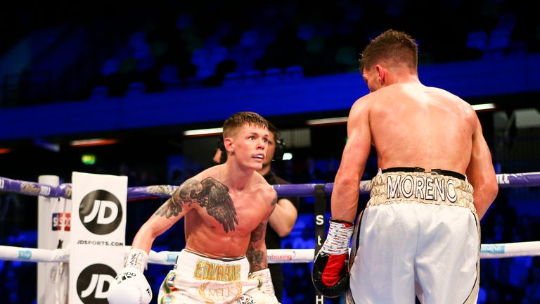 Charlie Edwards drops his hands and goads Spanish challenger Angel Moreno