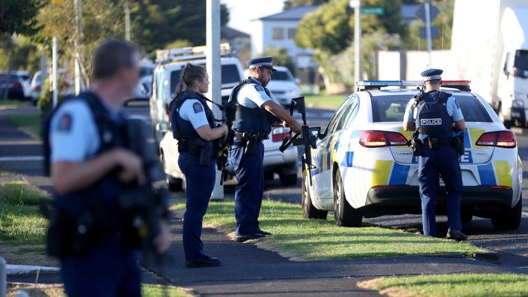 Police patrol outside a mosque after the shootings in Christchurch on Friday