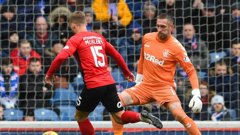 Connor McAleny rounds Rangers' keeper Allan McGregor to open the scoring for Kilmarnock.
