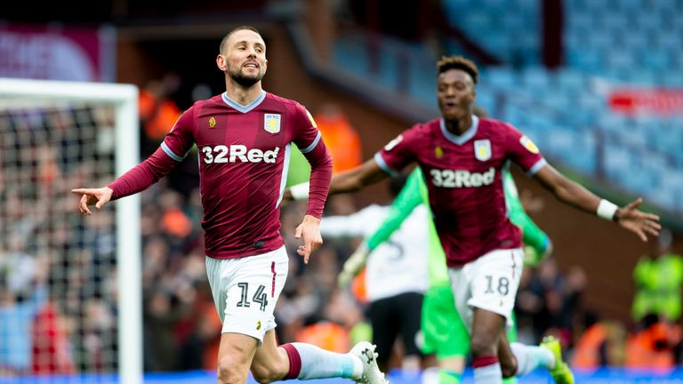 Conor Hourihane celebrates as Aston Villa take a 1-0 lead at home to Derby County