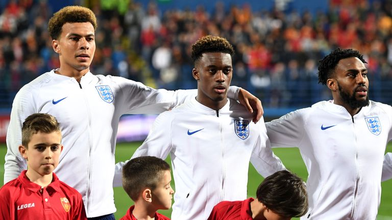 Callum Hudson-Odoi lines up for his full England debut against Montenegro
