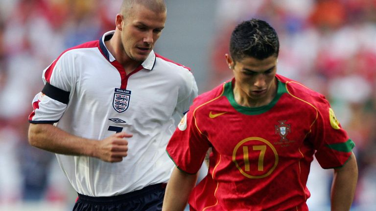 Ronaldo and Beckham competing for England and Portugal during Euro 2004