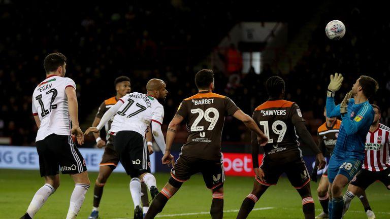 Sheffield United's David McGoldrick heads the second goal for Sheffield United