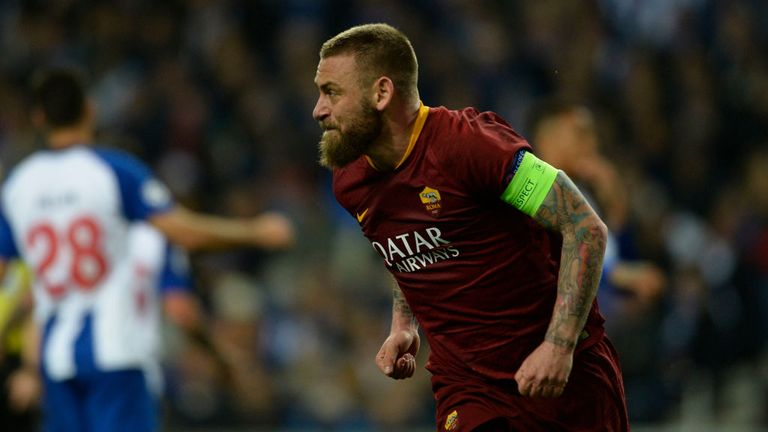Daniele De Rossi levelled on the night for Roma