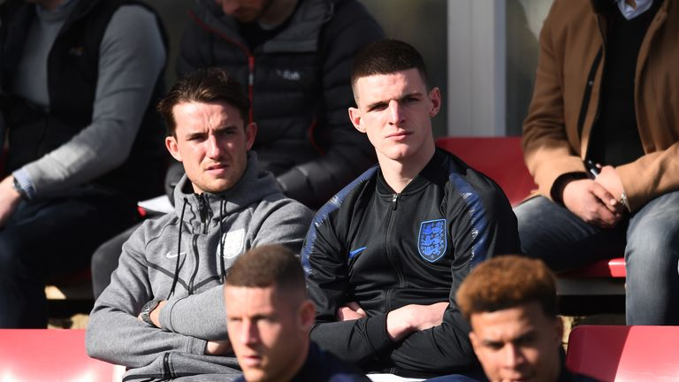 Ben Chilwell and Declan Rice of England look on during the UEFA U19 Championship Qualifier match between England U19 and Czech Republic U19 at St Georges Park on March 20, 2019 in Burton-upon-Trent, England.