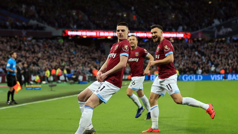 Declan Rice celebrates giving West Ham a 1-0 lead