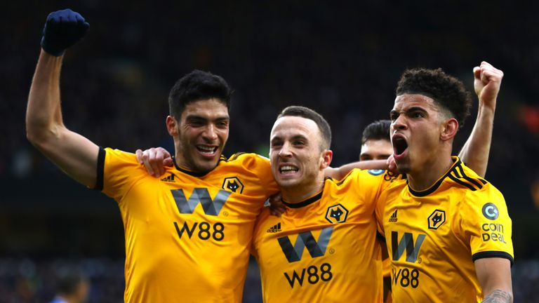Diogo Jota celebrates after scoring the opening goal of the game