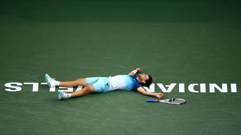 Thiem collapsed to the ground after claiming the biggest title of his career