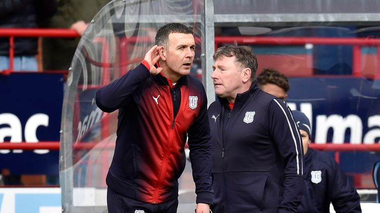 Dundee manager Jim McIntyre issues instructions on the touchline on Sunday