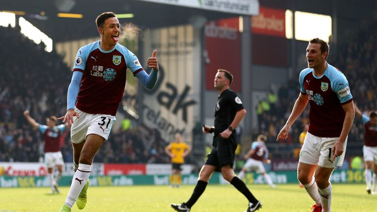 Dwight McNeil celebrates after scoring for Burnley against Wolves