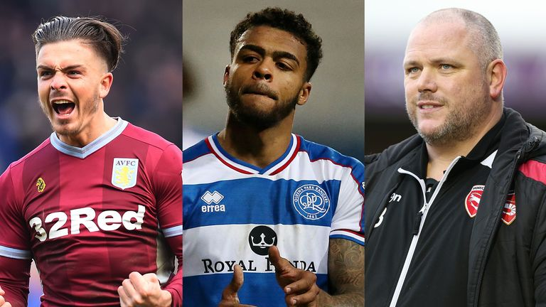 Aston Villa midfielder Jack Grealish, QPR's Darnell Furlong and Morecambe boss Jim Bentley
