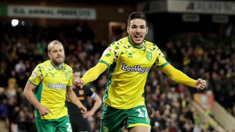 Emi Buendia celebrates scoring for Norwich