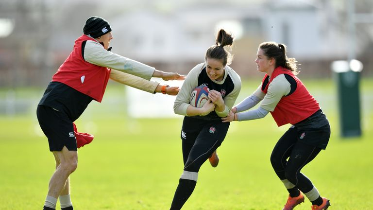 Emily Scarratt during England training