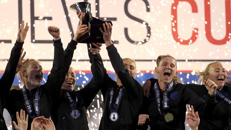 England celebrates winning the SheBelieves Cup at Raymond James Stadium on March 05, 2019 in Tampa, Florida.