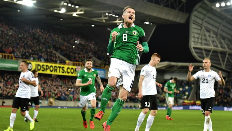 Steven Davis celebrates his goal in Northern Ireland's 2-0 win over Estonia.